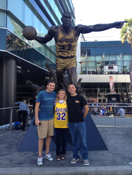 Mark took his mom to her first Laker's game to ring in her 70th year