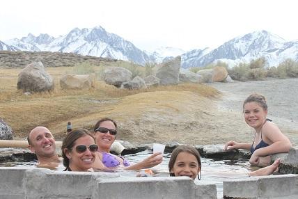 With the Avila-Gorostizas, enjoying the hot springs in Mammoth
