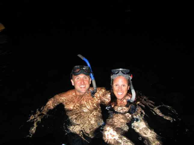 After dinner we noticed a school of giant tarpon swimming under the boat so we jumped in